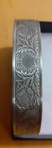 Magnetic Silver Pewter Bangle (Large Approx 18cm + Gap)  - Scottish thistle design
