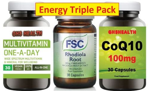 Mega Energy Triple Pack - Coq10 + Rhodiola + 100%  NRV Multi Vitamin (New Formula)