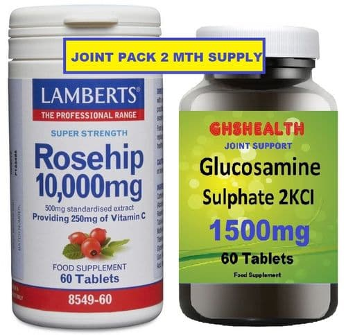 Rosehip 10,000 60 Tabs + Glucosamine Sulphate 1500mg 60s Joint Pack  (2mth supply) Special Offer