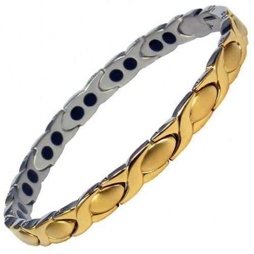 Stainless Steel Magnetic Bracelet - high strength - narrow oval Gold style