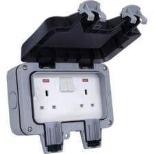 BG Twin Socket Weatherproof 13A Double Switched Outdoor Socket IP66 WP22-XD