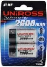 Uniross Rechargeable 1.2v Ni-MH Size C R14 Battery 2600 mah