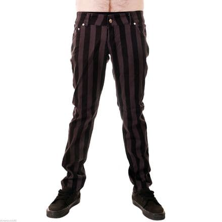 "DRAINPIPE STRETCH SKINNY JEANS CHARCOAL GREY 1"" STRIPE MENS UNISEX INDIE ROCK"