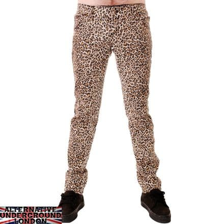 DRAINPIPE STRETCH SKINNY JEANS NATURAL LEOPARD MENS UNISEX INDIE ROCK GLAM RETRO