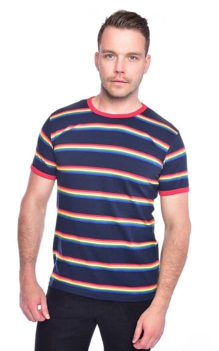 Mens Run & Fly Navy Retro Indie Rainbow Striped T-Shirt 60s 70s 80s