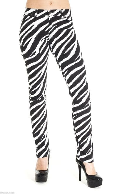 NEW WOMENS SKINNY STRETCH MID RISE WHITE AND BLACK ZEBRA JEANS - 251961189958