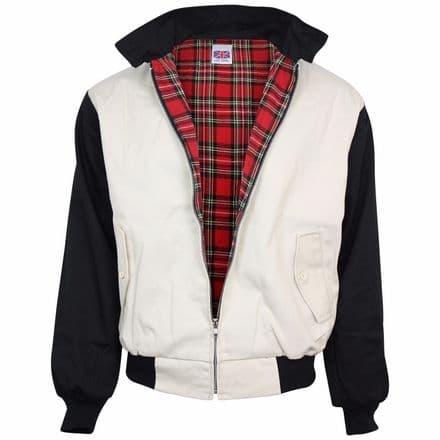 Relco Beige & Black Rockabilly Harrington Jacket Retro Indie S - XXL