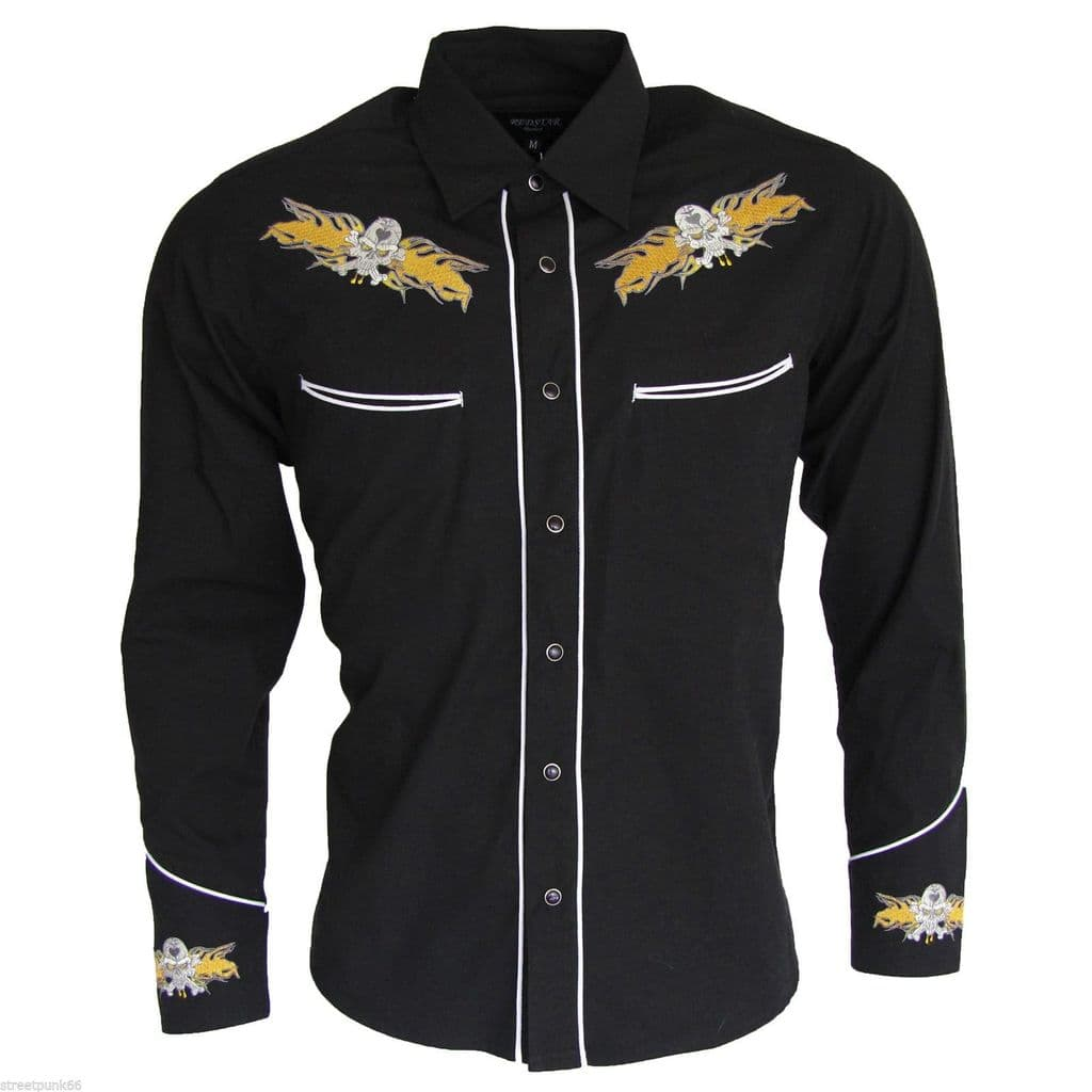 Relco Black Yellow Rockabilly Biker Western Skull Flamed Embroidered Shirt