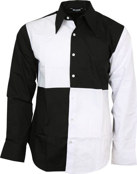 Relco Exclusive Mens Harlequin Jester Black White Shirt Party Stage Fancy Dress