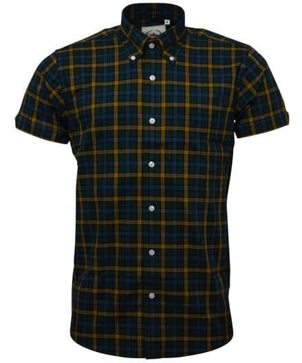 Relco Mens Green Yellow Check Short Sleeve Button Down Shirt Spring '21 Range