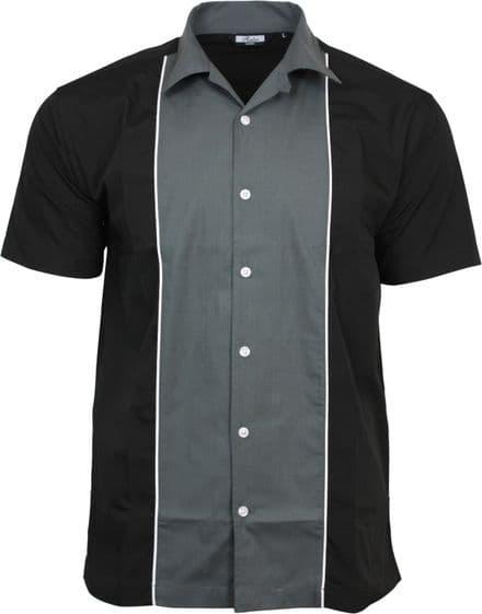Relco Mens Grey & Black Bowling Shirt Rockabilly Retro 50s Club Swing Lounge