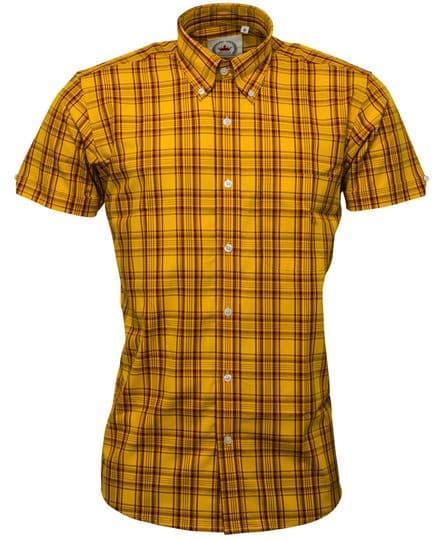Relco Mens Mustard Check Short Sleeve Shirt Button Down Collar Mod Tartan Retro