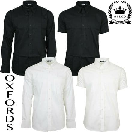 Relco Mens Oxford Black White Button Down Collar Short & Long Sleeve Shirt