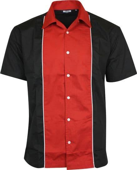 Relco Mens Red & Black Bowling Shirt Rockabilly Retro 50s Club Swing Lounge