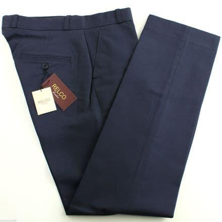 Relco Mens Stay Press Navy Blue Trousers Sta Prest Retro Mod Skin Skinhead Ska