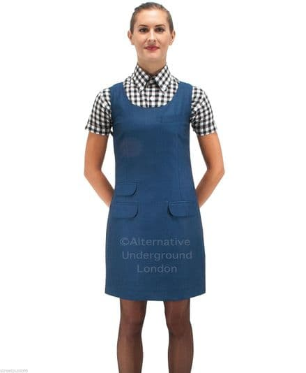 Relco Womens Blue Tonic Two Tone Fitted Pinafore Dress 60s Mod Skin Ska Skinbryd