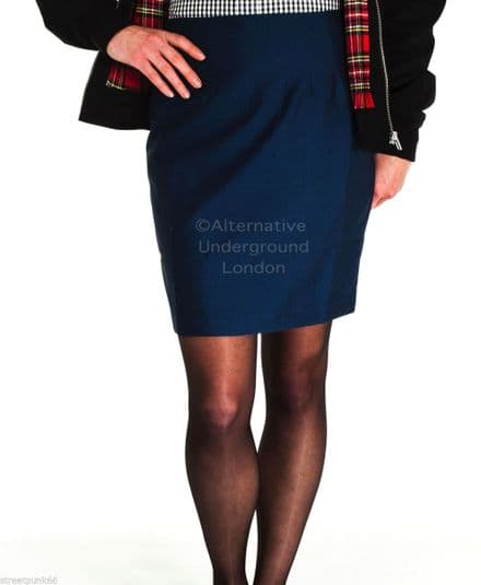 Relco Womens Blue Tonic Two Tone Fitted Skirt 60s Mod Skin Ska Skinbryd