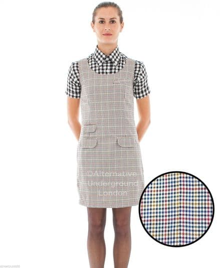 Relco Womens Classic Tweed Overcheck Pinafore Dress 60s Mod Skin Ska Skinbryd