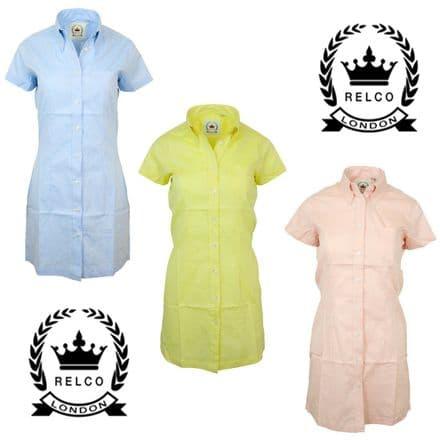 Relco Womens Oxford Button Down Shirt Dress 60s Mod Skin Ska Skinbryd Retro