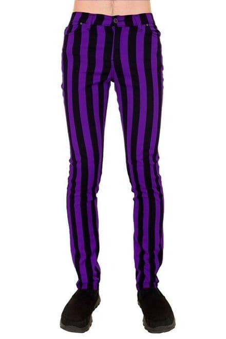 "Run & Fly Purple & Black 1"" Striped Skinny Drainpipe Jeans Mod 60s Retro Indie"