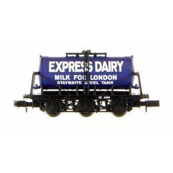 2F-031-019 N GAUGE 6 WHEEL MILK TANKER EXPRESS DAIRIES MILK FOR LONDON ##Out Of Stock##