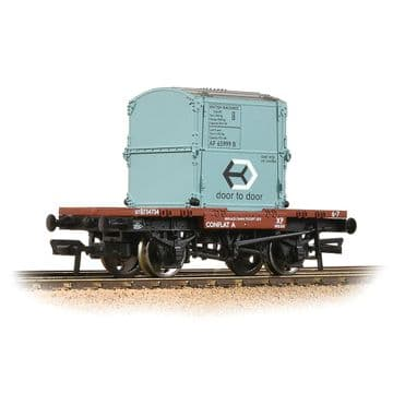 37-978A  Conflat Wagon BR Bauxite (Early) With BR Ice Blue AF Container Pre Order £20.35