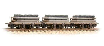 393-075 4 Wheel Slate Wagon Grey (Pk 3) Weathered