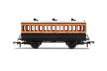 R40062A LSWR 3rd Class 5 Door 4 wheel coach. Oil lamps + step boards 308