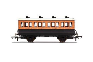 R40107 LSWR, 4 Wheel Coach, 1st Class, Fitted Lights, 123 - Era 2