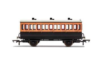 R40108 LSWR, 4 Wheel Coach, 3rd Class, Fitted Lights, 302 - Era 2