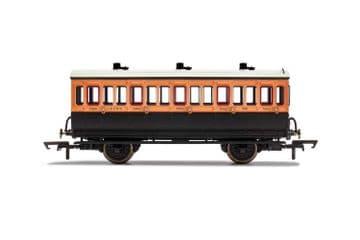 R40108A LSWR, 4 Wheel Coach, 3rd Class, Fitted Lights, 308 - Era 2