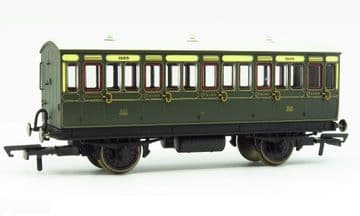 R40112 GWR 3rd Class 5 Door 4 wheel coach. Gas lamps + step boards 1889 - With Lights