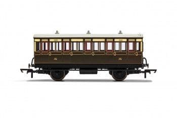 R40112A GWR 3rd Class 5 Door 4 wheel coach. Gas lamps + step boards 1892 - With Lights