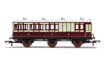 R40122 LNWR, 6 Wheel Coach, Brake 3rd Class, Fitted Lights, 7463 - Era 2