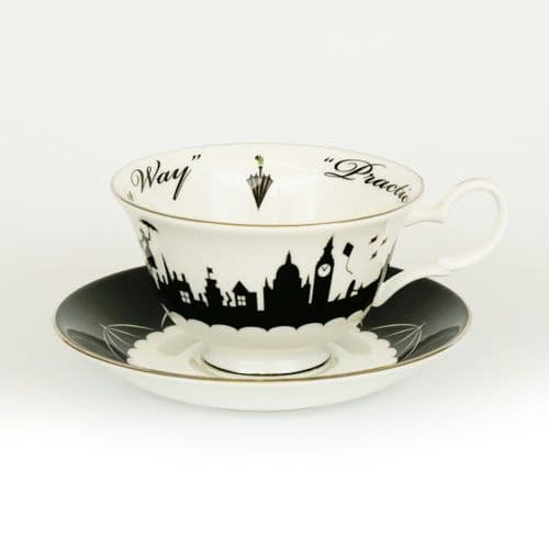 Mary Poppins Practically Perfect Cup & Saucer - Black