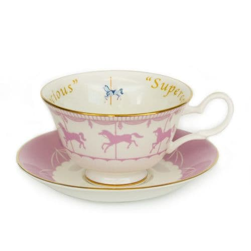 Mary Poppins Supercalifragilisticexpialidocious  Cup & Saucer - Pink