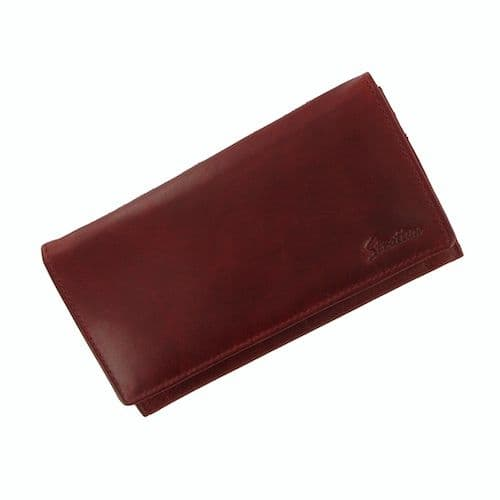 Stratton Red Leather Long Flap Over Purse SLG102R