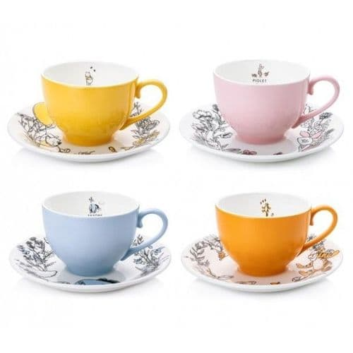 Winnie The Pooh - Set of 4 Cup & Saucer Sets