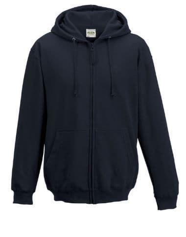 Hoodie Black zipped with embroidered logo (1)