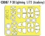 EDCX087 1/72 Lockheed P-38J Lightning mask (Academy)