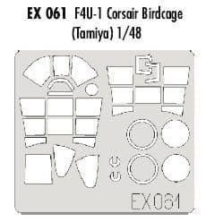 EDEX061 1/48 Vought F4U-1 Corsair 'Birdcage'  mask (Tamiya)