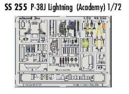 EDSS255 1/72 Lockheed P-38J Lightning zoom etch (Academy)