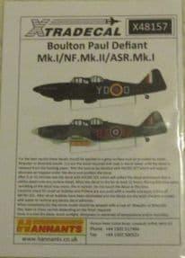 X48157  1/48 Boulton-Paul Defiant Mk.I/NF.II/ ASR.Mk.I decals (6)
