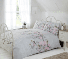 """""""Eloise"""",Grey, Birds Double Duvet Set, """"Made with Love"""" by Rapport"""