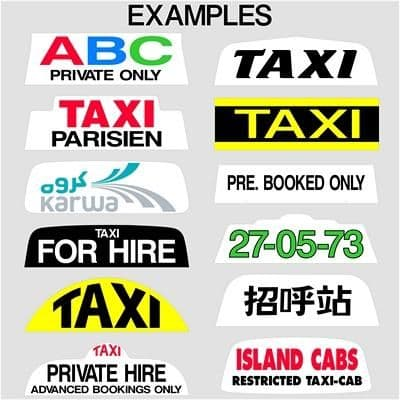"""14"""" 16"""" and 18"""" Taxi Sign Lettering (1)"""