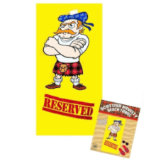 """Reserved"""" Beach Towel, Kilted Scotsman from """"Thistle Products Ltd""""."""