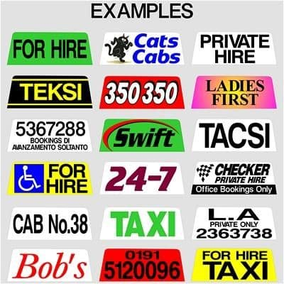 Taxi Roof Sign Lettering