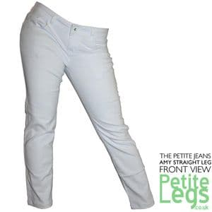 Amy White Slim Straight Leg Jeans   UK Size 10-12   Petite Inseam Select: 24.5, 26.5, 28.5 inches