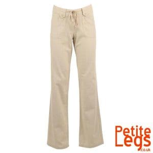 Anya Relaxed / Wide Straight Leg Linen Trousers in Stone | UK Size 12/14 | Petite Inseam Select:  24 - 30 inches