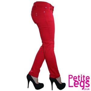 Daisy Skinny Jeans in Block Pop Red   UK Size 6-8   Petite Leg Inseam 26.5 inches